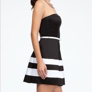 Bebe black & white strapless dress